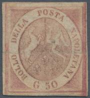 Italien - Altitalienische Staaten: Neapel: 1858, 50 Grana, Rose Brown, Unused Without Gum, Crossed B - Naples