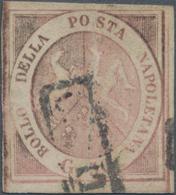 """Italien - Altitalienische Staaten: Neapel: 1858. 50 Gr. Rose, Cancelled By Part Of Framed """"annulato"""" - Naples"""