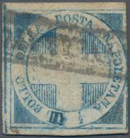 """Italien - Altitalienische Staaten: Neapel: 1860: """"Crocetta"""", 1/1 Tornese Blue, Used, Double Incision - Naples"""
