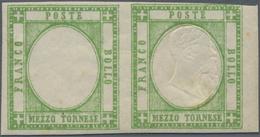 Italien - Altitalienische Staaten: Neapel: 1861, ½ T, Light Green. Horizonatl Pair, Left Stamp Witho - Naples