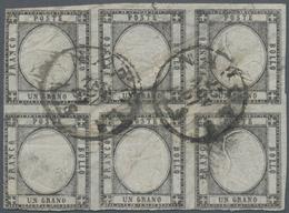 Italien - Altitalienische Staaten: Neapel: 1861. 1 Gr. Blackish Grey, Horizontal Block Of Six, Cance - Naples
