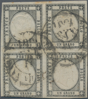 Italien - Altitalienische Staaten: Neapel: 1861. 1 Black Grain, Used, Block Of Four, Good Margins On - Naples