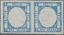 Italien - Altitalienische Staaten: Neapel: 1861, 2 Gr Light Blue, Horizontal Mnh Pair, Left Stamp Wi - Naples