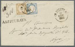 Italien - Altitalienische Staaten: Neapel: 1861, 10 Grana Bistre Together With 2 Grana Blue, Tied By - Naples