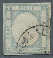 Italien - Altitalienische Staaten: Neapel: 1861, 50 Grana Grigio Perla, 50gr. Pearl Grey Fine Used, - Naples