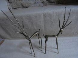 Vintage - 2 Antilopes En Cuivre - Duo Mère Et Son Petit - Tiere