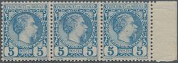 Monaco: 1885, Prince Charles III. 5c. Blue Horizontal Strip Of Three From Right Margin, Mint Never H - Monaco
