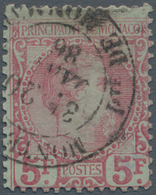 Monaco: 1885, Prince Charles III. 5fr. Carmine On Green Good Used With Double-circle 'MONTE (CARLO), - Monaco
