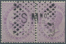 San Marino: FORERUNNER ITALY: 1863, 60 C Light Lila Horizontal Pair (cut/faults) Cancelled With Clea - Saint-Marin