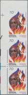 Spanien: 1998, Europa-CEPT 70pts. 'Johannis Fire' Vertical Strip Of Three From Upper Left Corner Wit - 2001-10 Neufs