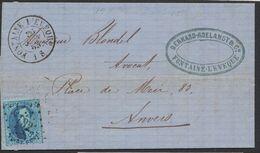 Médaillon Dentelé - N°15 Sur LAC Obl Pt 132 çàd Fontaine-l'évêque 30/6/65 > Anvers / Cachet Privé. - 1863-1864 Medaillons (13/16)