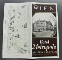 Dépliant Touristique - Wien-Hotel Metropole - Suisse Guide Des Hôtels 1958-59 - Format 23,5x11,5 Cm (fermé) - - Tourism Brochures