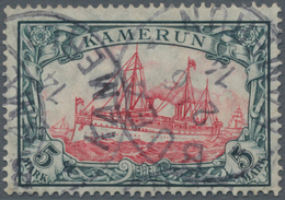 Deutsche Kolonien - Kamerun: 1905. 5 Mk. Grünschwarz/rot Mit Wasserzeichen Rauten, Sehr Schönes Beda - Colonie: Cameroun