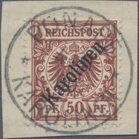 Deutsche Kolonien - Karolinen: 1899, 50 Pfg. Lebhaftrötlichbraun Mit Diagonalem Aufdruck Und Zeitger - Colonie: Carolines