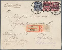 """Deutsche Kolonien - Samoa - Vorläufer: 1897, Krone/Adler 10 Pf. (2), 20 Pf. Mit Drei Klaren """"APIA KD - Colonie: Samoa"""