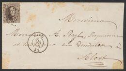 Médaillon Dentelé - N°14 Sur Env. Obl Pt 141 çàd Gand 27/12/64 > Alost - 1863-1864 Medaillons (13/16)