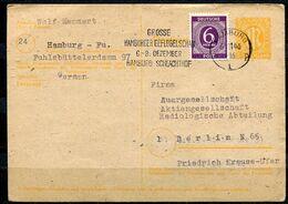 """Germany Hamburg 1946 GS Alliierte Besetzung Brit.Zone Mi.Nr.P905 Mit Zusatzfrankatur U.MWST""""Hamburg,vom 6.11  """"1 GS Used - American/British Zone"""