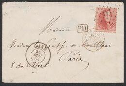 Médaillon Dentelé - N°16 Sur Env. Obl Pt 141 çàd Gand 24/12/64 > Paris - 1863-1864 Medallones (13/16)