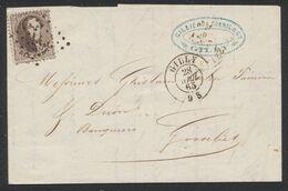 Médaillon Dentelé - N°14 Sur LAC Obl Pt 149 çàd Gilly 28/4/65 > Gosselies / Cachet Privé (banque) - 1863-1864 Medaillons (13/16)
