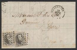 Médaillon Dentelé - N°14 X2 Sur LAC Obl Pt 152 çàd Gosselies 23/9/65 > Lierre. Superbe Frappe ! - 1863-1864 Medaillons (13/16)