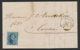 Médaillon Dentelé - N°15 Sur LAC Obl Pt 152 çàd Gosselies 18/4/64 > Courtrai / Commerce De Toiles - 1863-1864 Medaillons (13/16)