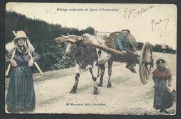+++ CPA - Attelage Ardennais Et Types D'Ardennaises - Cachet Stavelot - Paysans  // - Stavelot