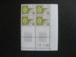 TB Bloc De 4 Coin Daté:  13.01.1988 Du PO N° 201, Neuf XX . - Vorausentwertungen