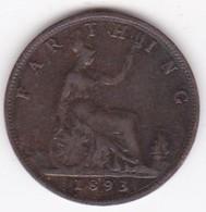 Grande-Bretagne. 1 Farthing 1893. Victoria - 1816-1901 : Coniature XIX° S.