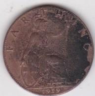Grande-Bretagne. 1 Farthing 1919. George V - 1902-1971 : Monete Post-Vittoriane