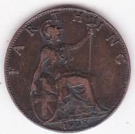 Grande-Bretagne. 1 Farthing 1908. Edward VII - 1902-1971 : Monete Post-Vittoriane