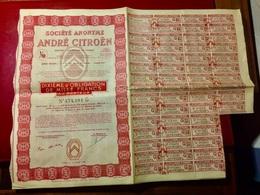 S.A.  ANDRÉ   CITROËN  ----------------Dixième  D' Obligation  De  1.000 Frs - Cars