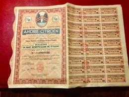 S.A.  ANDRÉ   CITROËN  ----------------Dixième  De  Part  Bénéficiaire  De 1er  Rang - Cars
