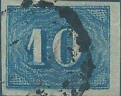 Brazil Brazile,1854 Value Stamp-Colored 10R Blue Used, Value:€15,00 - Brasilien