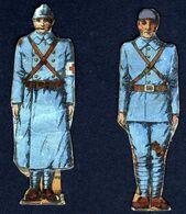Découpis Soldats Régiment Armée Guerre 1914 1918 Infirmier 2 Pièces RARE Voir Explications - Découpis
