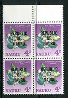 Nauru 1966 Republic Of Nauru Overprint - 4c Value Block Of 4 MNH (SG 83) - Nauru