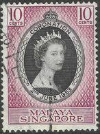 Singapore. 1953 QEII Coronation. 10c Used SG 37 - Singapur (...-1959)