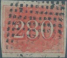 Brazil Brazile,1861 Value Stamps-New Design,280R Red,Imperforated Used,Rare-Large Margin - Brasilien