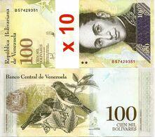 VENEZUELA       Lot Of 10 X 100,000 Bolívares       P-100b       13.12.2017       UNC  [ 100000 ] - Venezuela