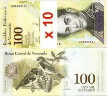 VENEZUELA       Lot Of 10 X 100,000 Bolívares       P-100b[4]       13.12.2017       UNC  [ 100000 ] - Venezuela