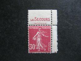 """TB  N° 191c, Neuf X. Avec PUB Supérieure """" SECOURS """". - Publicités"""