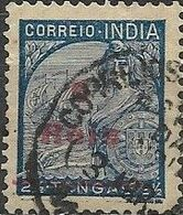PORTUGUESE INDIA 1942 Portugal And Galeasse Surcharged - 6r. On 2 1/2 T - Blue FU - Inde Portugaise