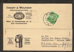 DR. Reklame-Karte, Molkereimaschinen-Fabrik, Jurany & Wolfrum, Wien. - Unclassified