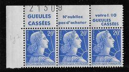 France Timbre Avec Bande Publicitaire N°1011Bb - Bande De 3 - Neuf ** Sans Charnière - TB - Publicités