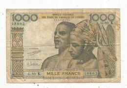 Billet , SENEGAL ,K , 1000 , Mille Francs ,banque Centrale Des états De L'Afrique De L'ouest ,2 Scans , Frais Fr 1.65 E - Senegal