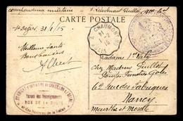 CACHET DU COMMANDANT DE LA 1ERE COMPAGNIE DU 40EME REGIMENT TERRITORIAL D'INFANTERIE POSTE DE ST-DIZIER LE 31.01.1915 - Poststempel (Briefe)