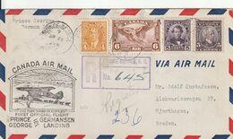 Canada Lettre Recommandée Aviation Pour La Suède 1938 - Briefe U. Dokumente