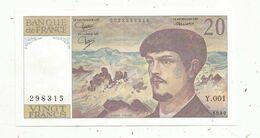 Billet , FRANCE ,20 , Vingt Francs , DEBUSSY ,1980 , ALPHABET Y.001 , 2 Scans - 1962-1997 ''Francs''