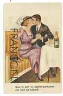 """Couple D'amoureux Des Années Folles. Champagne. """"Mais Le Soir En Cabinet Particilier Elle Boit Les Baisers - Parejas"""