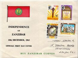 Postal History Cover: Zanzibar Set On Used FDC - Zanzibar (1963-1968)