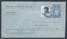 Stamps Woman In Algarve And Portugal Patron. Letter Circulated Lisbon, Restauradores / USA. Tourism. Rare. - 1910-... République